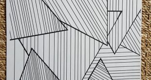 Adult Coloring Page - Abstract Striped Triangles