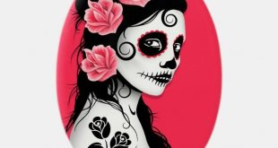 Personalized Christmas Ornaments - Day of the Dead Sugar Skull Girl - pink Christmas Ornament