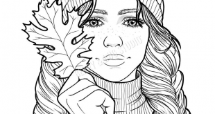 Fall Girl Coloring Page Printable Adult Coloring Page Fall | Etsy