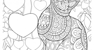 Zentangle Cat with Hearts Coloring Page • FREE Printable eBook