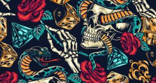 Download Vintage Tattoos Colorful Seamless Pattern for free