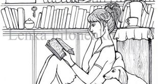 Coloring page for adults Coloring page Reader in front of   Etsy