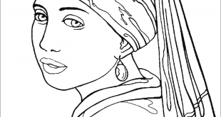 Girl with a Pearl Earring coloring page | Free Printable Coloring Pages