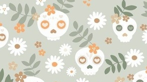 Colorful fabrics digitally printed by Spoonflower - Day of the dead dia de los muertos mexican inspired skulls and bones boho halloween theme in pastel mint sage mist green orange white
